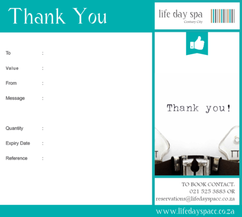 Thank you gift voucher r2500 life day spa century city thank you gift voucher r2000 negle Images
