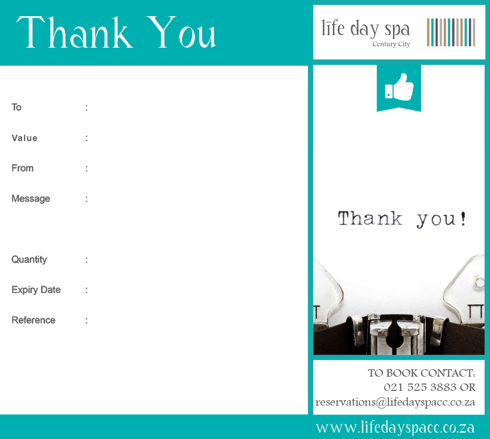 Thank you gift voucher r2500 life day spa century city thank you gift negle Images
